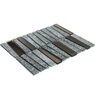 Reflection Trapezoid Random Sized Natural Stone Mosaic Tile in Gray/Bronze