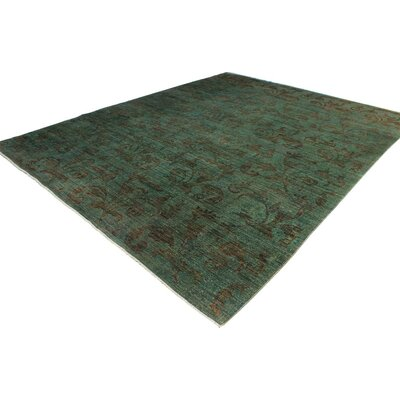 One-of-a-Kind Karr Over Dyed Carita Hand-Knotted Wool Lt. Green Area Rug