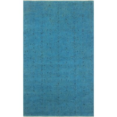 One-of-a-Kind Karr Over Dyed Alexande Hand-Knotted Wool Lt. Blue Area Rug