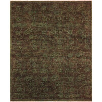One-of-a-Kind Karr Over Dyed Sandee Hand-Knotted Wool Green Area Rug