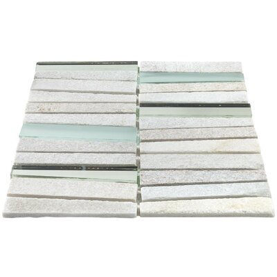 Reflection Trapezoid Random Sized Natural Stone Mosaic Tile in White/Gray
