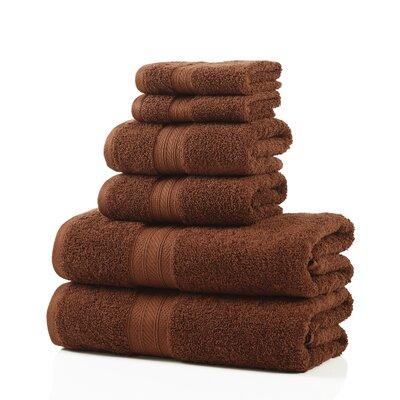 6 Piece Towel Set Color: Brown