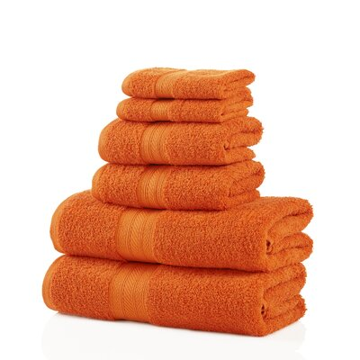6 Piece Towel Set Color: Orange
