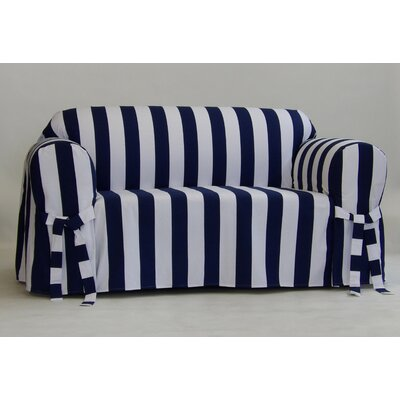 Stripe Box Cushion Slipcover Upholstery: Navy, Size: 38 H x 96 W x 36 D