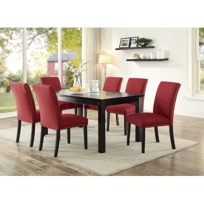 Hoeft 7 Piece Dining Set Chair Color: Red