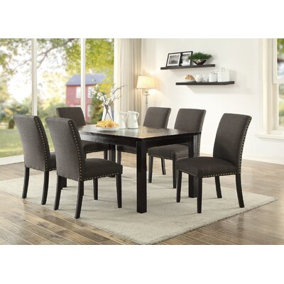 Hoeft 7 Piece Dining Set Chair Color: Ash Black