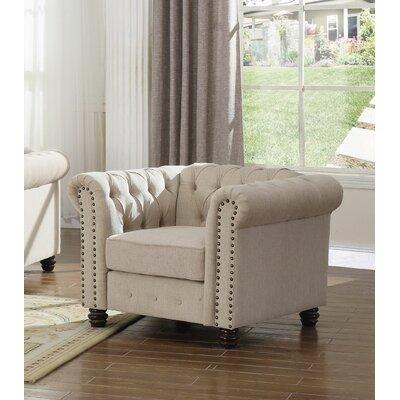 Hodson Upholstered Tufted Armchair Upholstery: Beige