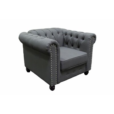 Hodson Upholstered Tufted Armchair Upholstery: Klein Charcoal
