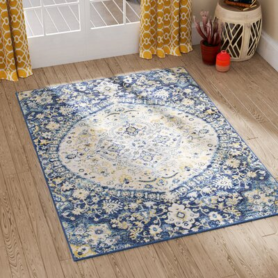 Downs Vintage Persian Medalion Oriental Blue/Cream Area Rug Rug Size: Rectangle 53 x 73