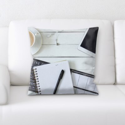 Benevides Coffee Notebook Ipad on a Table Throw Pillow