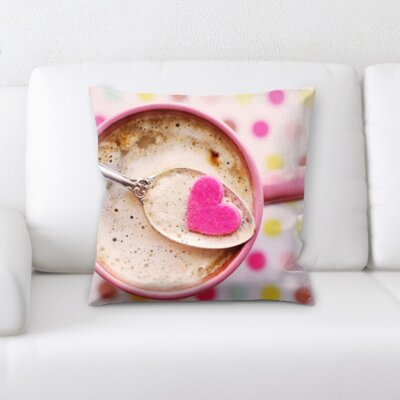 Benites Coffee on a Pink Background Throw Pillow