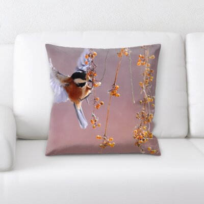 Chagoya Bird Eating Fruits Throw Pillow