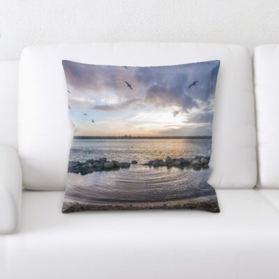 Cirillo Bird Flying In Sunrise Throw Pillow