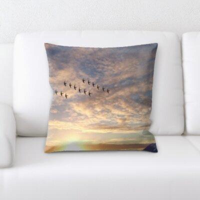 Cirillo Bird Flying Sunset Throw Pillow