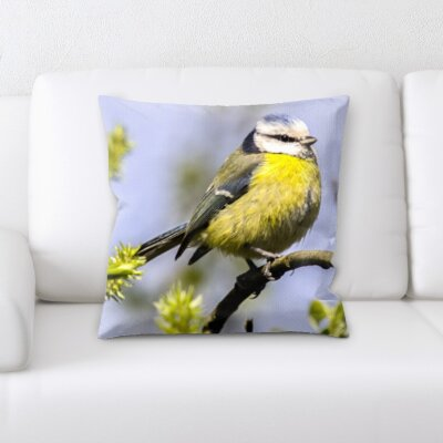 Chagoya Bird Sitting on a Tree Branch Throw Pillow