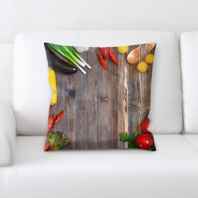 Benton Cooking Seafood and Meat With Mixed Vegetables Throw Pillow