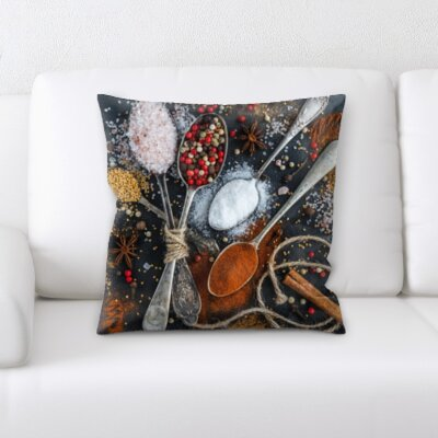 Bernardini Cooking Spoon of Different Spices Throw Pillow