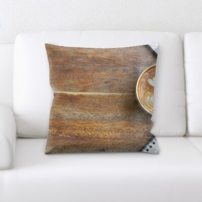 Grondin Art and Craft Coffee Computer Notebook on Table Throw Pillow