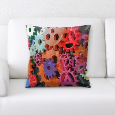 Lach Colorful Gears Throw Pillow