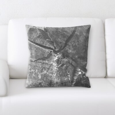 Delvalle Cracked Wood Throw Pillow