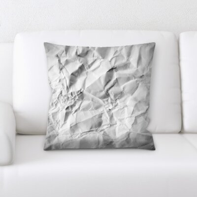 Delvalle Crumpled Paper Throw Pillow
