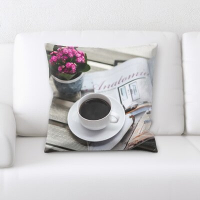 Belue Coffee and Newspaper Throw Pillow