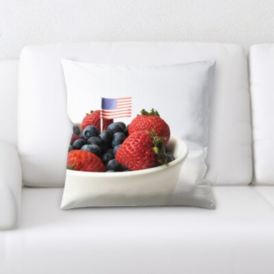 Berriman Mixed Berries and Strawberries With a Us Flag Throw Pillow