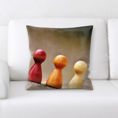 Grondin Art and Craft Different Color Wooden Pieces Throw Pillow