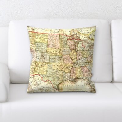 Chumley Flag United State Map Throw Pillow