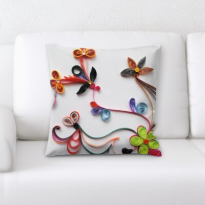Wigginton Art and Craft Flowers Throw Pillow