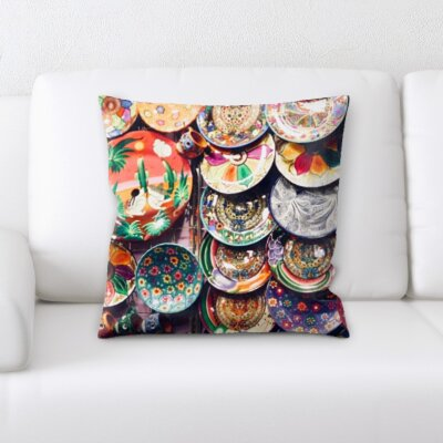 Holifield Art and Craft Spanish Colorful Plates Throw Pillow