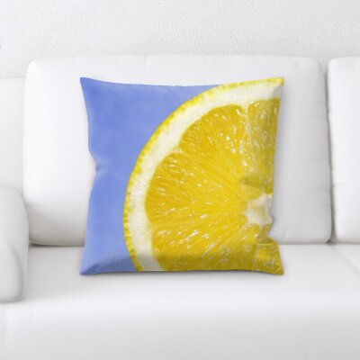 Bilodeau Fruits Orange Slice on a Blue Background Throw Pillow