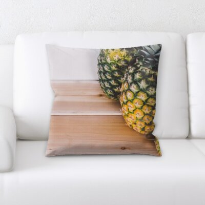 Bilski Fruits Pineapple on a Wood Texture Throw Pillow