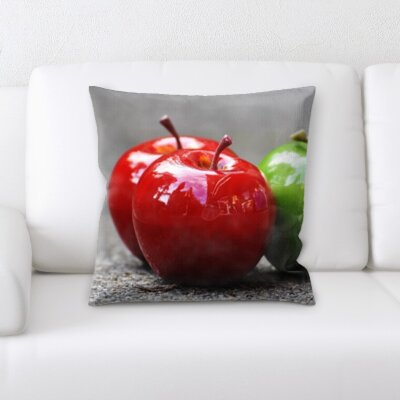 Binder Fruits Shiny Red and Green Apples Throw Pillow