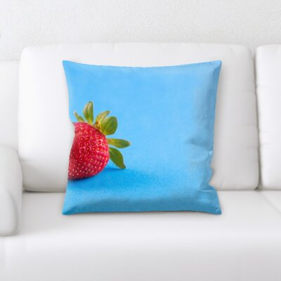 Binegar Fruits Strawberry on a Blue Background Throw Pillow
