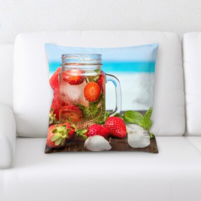 Binette Fruits Strawberry Water Throw Pillow
