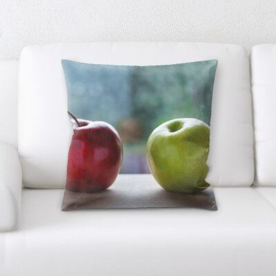 Bevis Fruits Green and Red Apple Throw Pillow