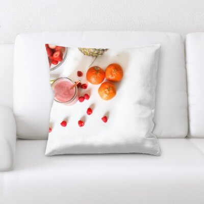 Bilger Mixed Fruits White Background Throw Pillow
