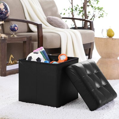 Lambertville Foldable Tufted Square Cube Foot Rest Storage Ottoman Color: Black