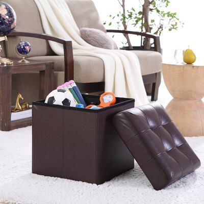 Lambertville Foldable Tufted Square Cube Foot Rest Storage Ottoman Color: Espresso Brown