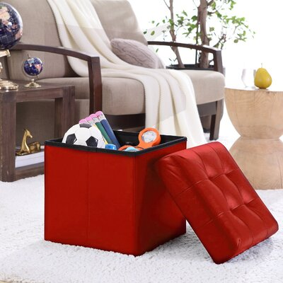 Lambertville Foldable Tufted Square Cube Foot Rest Storage Ottoman Color: Burgundy