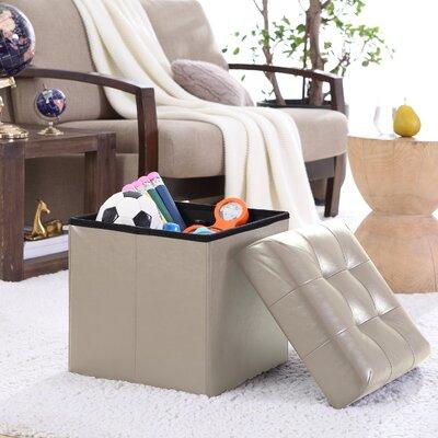 Lambertville Foldable Tufted Square Cube Foot Rest Storage Ottoman Color: Beige