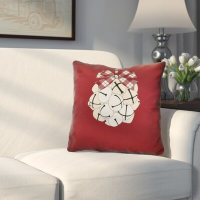Holiday Jingle Bells Outdoor Throw Pillow Size: 16 H x 16 W, Color: Cranberry