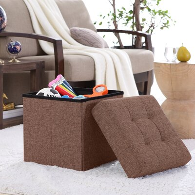 Lambertville Foldable Tufted Square Cube Foot Rest Storage Ottoman Color: Brown