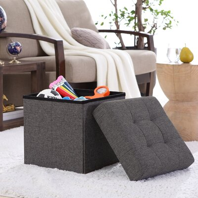 Lambertville Foldable Tufted Square Cube Foot Rest Storage Ottoman Color: Charcoal