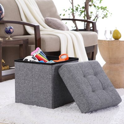 Lambertville Foldable Tufted Square Cube Foot Rest Storage Ottoman Color: Gray