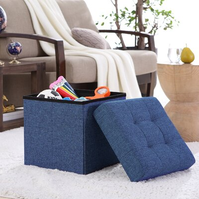 Lambertville Foldable Tufted Square Cube Foot Rest Storage Ottoman Color: Navy