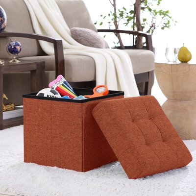 Lambertville Foldable Tufted Square Cube Foot Rest Storage Ottoman Color: Rust