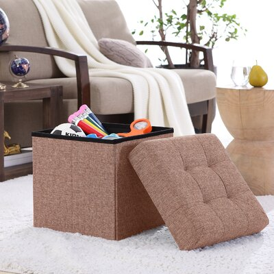 Lambertville Foldable Tufted Square Cube Foot Rest Storage Ottoman Color: Taupe