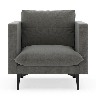 Crofoot Armchair Upholstery: Pebble, Finish: Black
